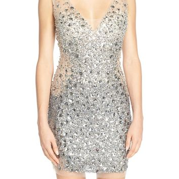 JVN by Jovani Embellished Mesh Minidress | Nordstrom