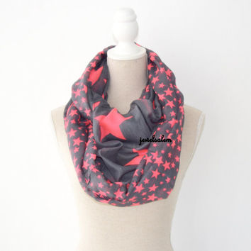 Infinity Scarf Gray Neon Pink Coral Stars Spring Circle Scarf Lightweight Modern Loop Tube Scarf Bohemian Summer Preppy Soft Autumn