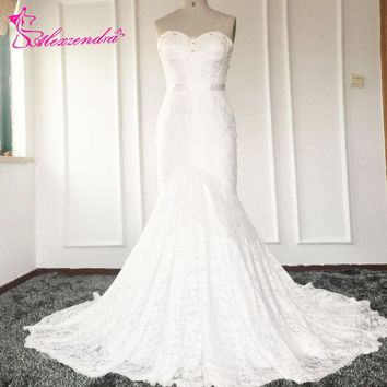 Real Photos Mermaid Lace Sexy Wedding Dresses High Quality Sweetheart Beads and Crystal Illusion Back Bridal Gown Plus Size