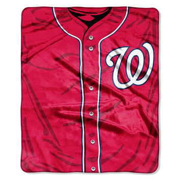 Washington Nationals MLB Royal Plush Raschel Blanket (Jersey Series) (50in x 60in)