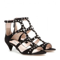 miu miu - embellished suede sandals