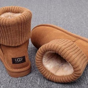 UGG Plush Leather Boots Boots In Tube Boots-2