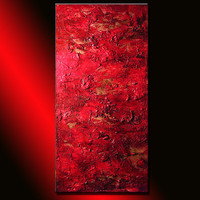 Original Red Textured Abstract Painting, Contemporary Art, Modern Abstract  fine art, by Henry Parsinia Large 48x24