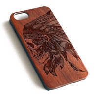 Indian Headwear Tattooes Natural wood precise laser engraved iPhone 7 6 6S Plus wood case WA087
