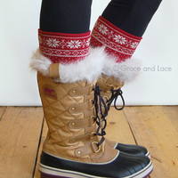 Patterned Boot Cuff - red/cream SNOWFLAKE boot cuff - intarsia knit boot topper faux legwarmers sock tops knit leg warmers boot warmers