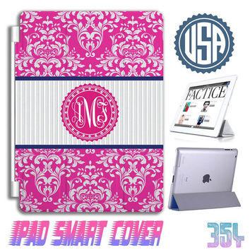 Monogram Floral custom IPad Mini Cover , IPad Air Smart Cover , IPad 4 Case IPad 3 2 IPhone 5  5S 5C 4S Samsung galaxy S5 S4 Case Gift 354