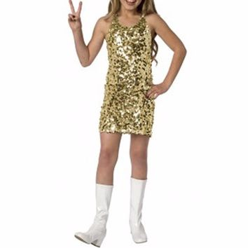 Golden Sequin Vintage Latin Dance Dress Flapper Girls Fantasia Infantil Children Fancy Dress Little Girl Halloween Costumes