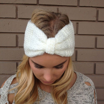 White Knit Bow Headband