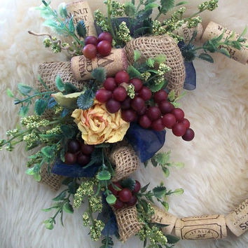 French Country Wreath, Rose Burlap, Cork Wreath, Wall Accent, Table Wreath, Floral Arrangement, Camel Yellow, Navy Blue Green, Wine Grapes