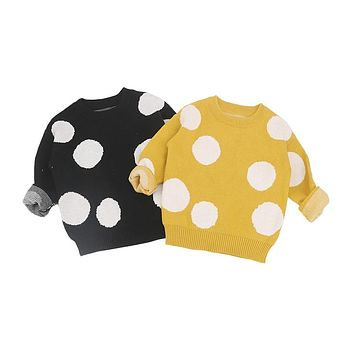 MILANCEl 2018 Children Baby Sweaters Dot Boys Sweaters Winter Girls Sweaters Knit Kids Pullover Casual Boys Clothing 1-6 Years