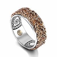 Men's John Hardy 'Classic Chain' Braided Two-Tone Band Ring