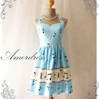 Music In Blue Dress Retro Party Cocktail Bridesmaid Birthday Summer Concert Anniversary Event Party Day Dress -Size XS,S,M,L,XL,CUSTOM