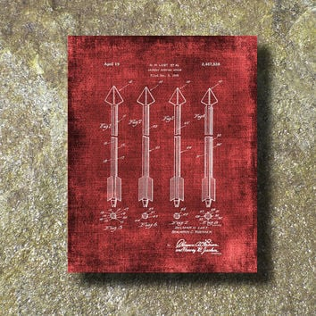 Archery Hunting Arrow Patent Print 1945 Art Illustration Printable Instant Download Print Poster UP003red