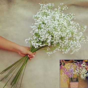 Artificial Gypsophila Lavender Magnolia Flower Fake Silk Wedding Party Bouquet Home Decor.