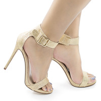 Canter Gold Glitter by Delicious, Gold Glitter Delicious Women's Single Sole Ankle Strap High Heels