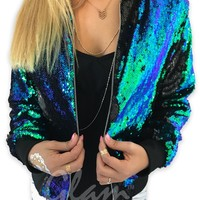 Mermaid Tail & Matte Black Reversible Sequin Bomber Jacket