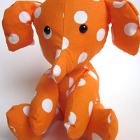 Stuffed Animal Elephant Plush Toy Baby Nursery Decor Orange White Dot Modern