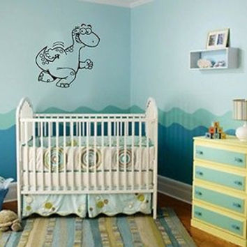 Wall Vinyl Decals Sticker Housewares Baby Room Animal Happy Dinosaur AB362