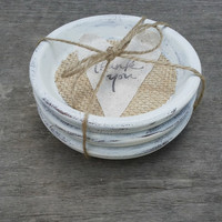 Shabby Chic Terra Cotta Coaster Set of 4, Shabby Chic Wedding Favor, Rustic Wedding Favor, Burlap Wedding, Baby Shower Favor,