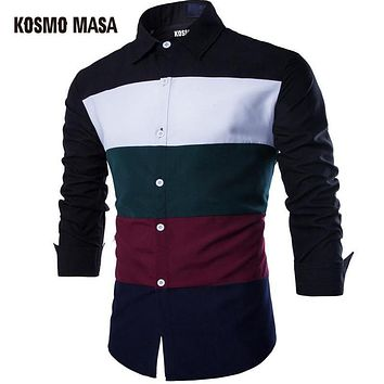 New Arrival Men Turn-Down Collar Jersey Casual Plaid Shirt Long Sleeve Stripe Patchwork Shirts
