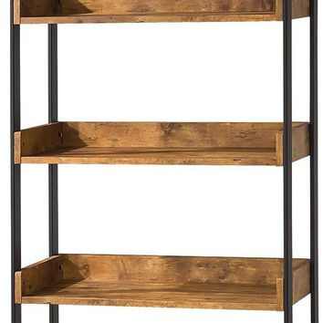 Rustically designed Bookcase With 4 Open Shelves, Antique Finish