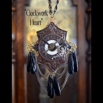 Clockwork Heart Steampunk Necklace, Watch, Chains, Angel, Filigree, Lucite Chandelier Crystals