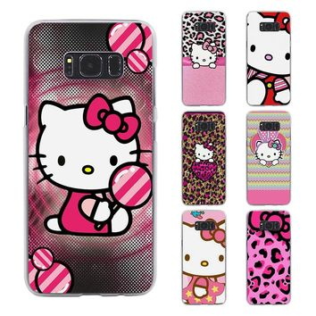Pink Hello kitty cat style transparent phone shell Case for Samsung Galaxy S8 S8 Plus note 5 4 S6 S7 edge