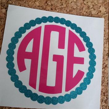 Scalloped Circle Monogram | Monogram Decal | Glitter Decal | Car Decal | Personalized Monogram | Yeti | Cup Decal | Decal | Monogram