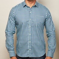 Aqua & Navy Check Shirt - Alan