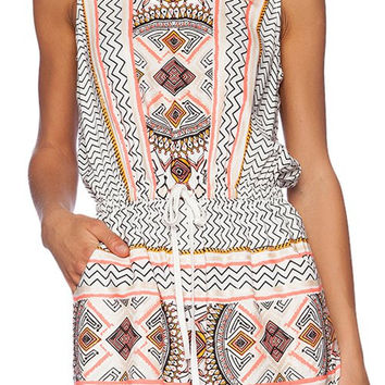 Apricot Sleeveless Tribal Romper