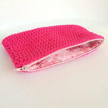 Pink zipper bag,Cotton zipper pouch,Small cosmetic bag,Pink coin purse,Pink makeup bag,Pink small pouch,Zipper small pouch,Pink zipper purse