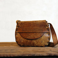 1970s Leather Bag // Vintage Bohemian Purse