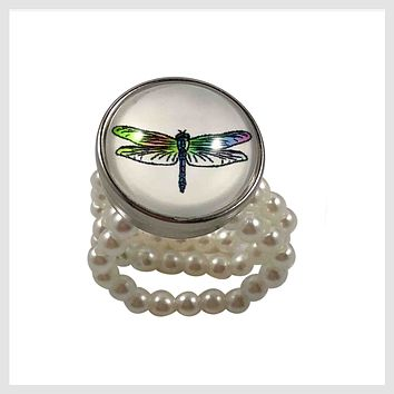 Stretch Ring Simulated Pearls Dragonfly 20mm Standard