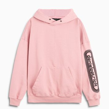 dp retro hoodie / blush + black