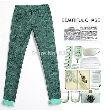 1898 New 2017 Fashion Brand Denim Trousers Candy Colors Women's Skinny Pants Leopard Pencil Jeans High Stretch Cotton Jeans