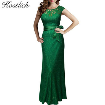 Kostlich Summer Women Long Dress 2016 UK Green Elegant Prom Fashion Casual Ladies Maxi Clothes Evening Party O-Neck Lace Dresses