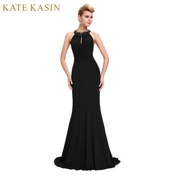 Kate Kasin Black Blue Red Mermaid Prom Dresses Long 2017 Sexy Backless Evening Dress Halter Neck Ballkleider Formal Prom Dresses
