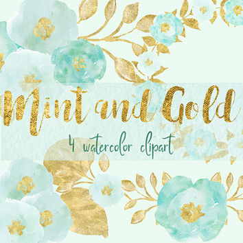 Mint and Gold | digital watercolor, watercolor flowers, floral clipart, mint, wedding flowers, invitation clipart, PNG, gold, mint clip art