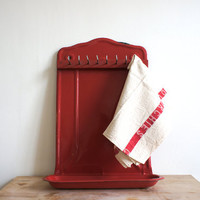 Vintage French Utensil Rack // Enameled Metal // Red French Kitchen Decor // Dish Towel Rack // french country decor