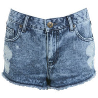 Distressed Effect High Waist Shorts