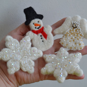 Custom order for Jamie Ryken Felted Pin Christmas Angel, Brooch Snowman with Black Hat, 2 Beaded Embroidered Snowflakes Pins Brooces,