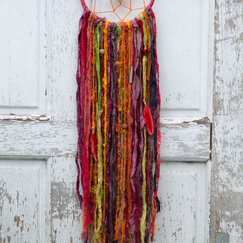 Boho Dreamcatcher, Red, Orange, Yellow, Christmas Gift, Fair Trade Sari Silk, Beads, Lace, Gypsy Decor, Wall Hanging, Home Decor, Ethnic