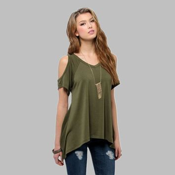 Cold shoulder top with fishtail hem