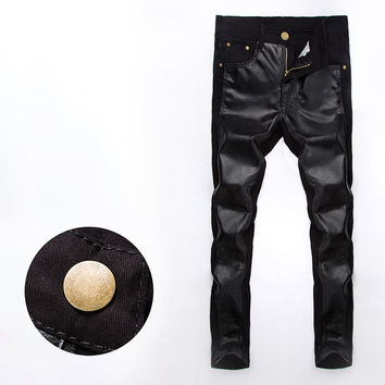Mens Cool Faux Leather Pants