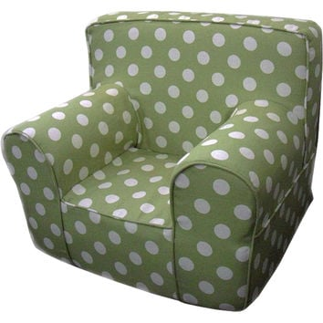 Green Polka Dot Chair Cover for Foam Childrens Chair