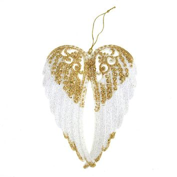 White with Gold Glitter Angel Wing Christmas Tree Ornaments, 6-Inch, 1-Piece
