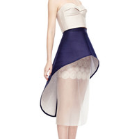 Navy Quilted Silk Skirt by Ruban for Preorder on Moda Operandi