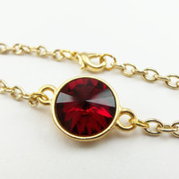 Garnet Red Chain Bracelet January Birthstone Jewelry Gold Chain Bracelet Gold Jewelry Crystal