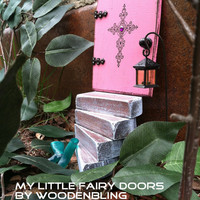 New Fairy garden set, Pink distressed door w/cross and a set of light blue stairs and a sign.