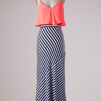 Striped Neon Coral Maxi Dress